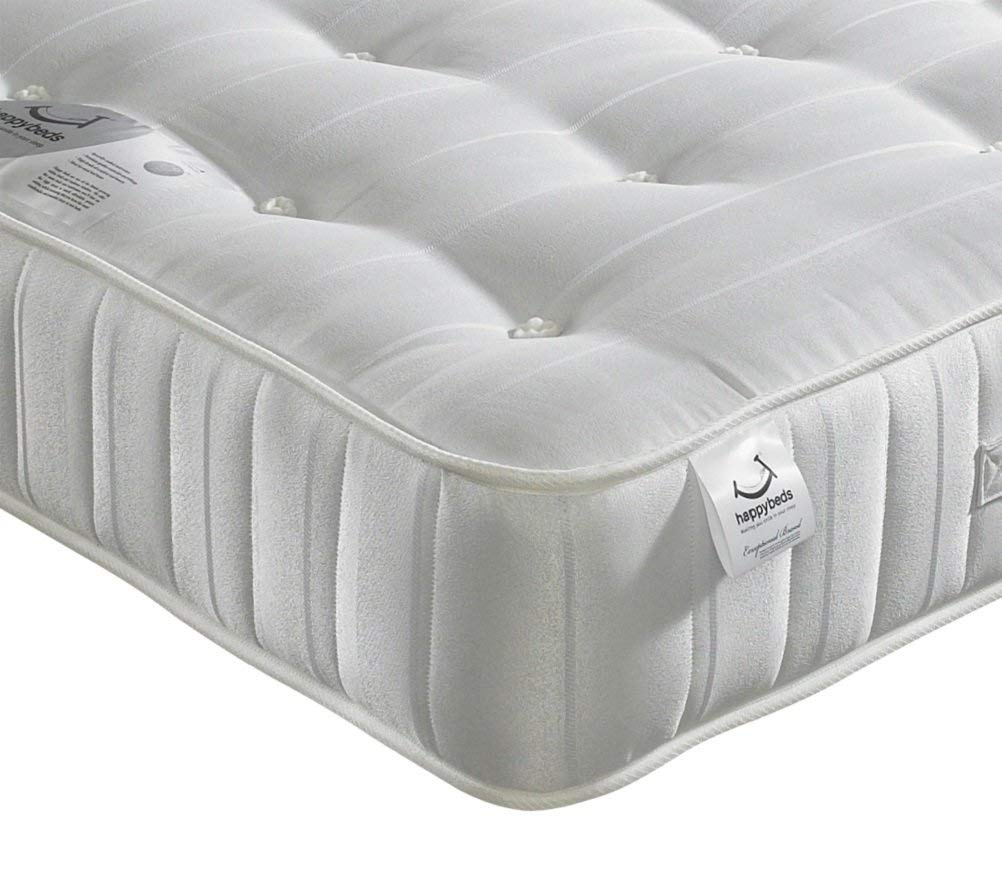 Happy Beds Orthopaedic Open Coil Spring, Super Ortho Medium Firm Tension Mattress with Reflex Foam - 5ft UK King (150 x 200 cm)