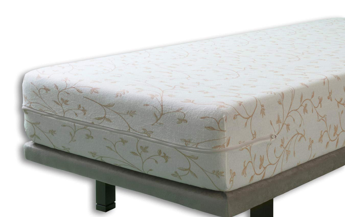 Velfont, BALI Elastic Terry Cotton Floral Patterned, Beige, Fully Enclosed Mattress Cover, Double Size (135x190/200cm)