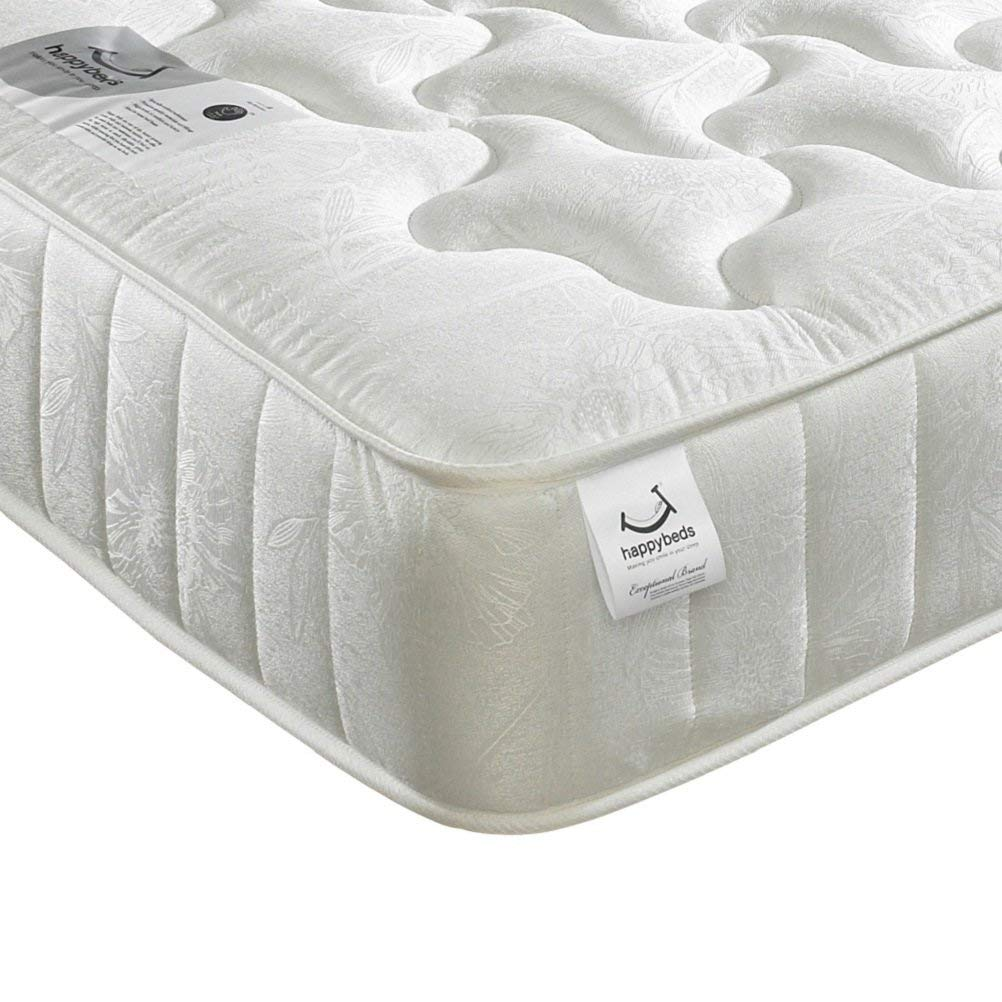 Quilted Open Coil Spring, Happy Beds Neptune Medium Tension Mattress - 4ft Small Double (120 x 190 cm)
