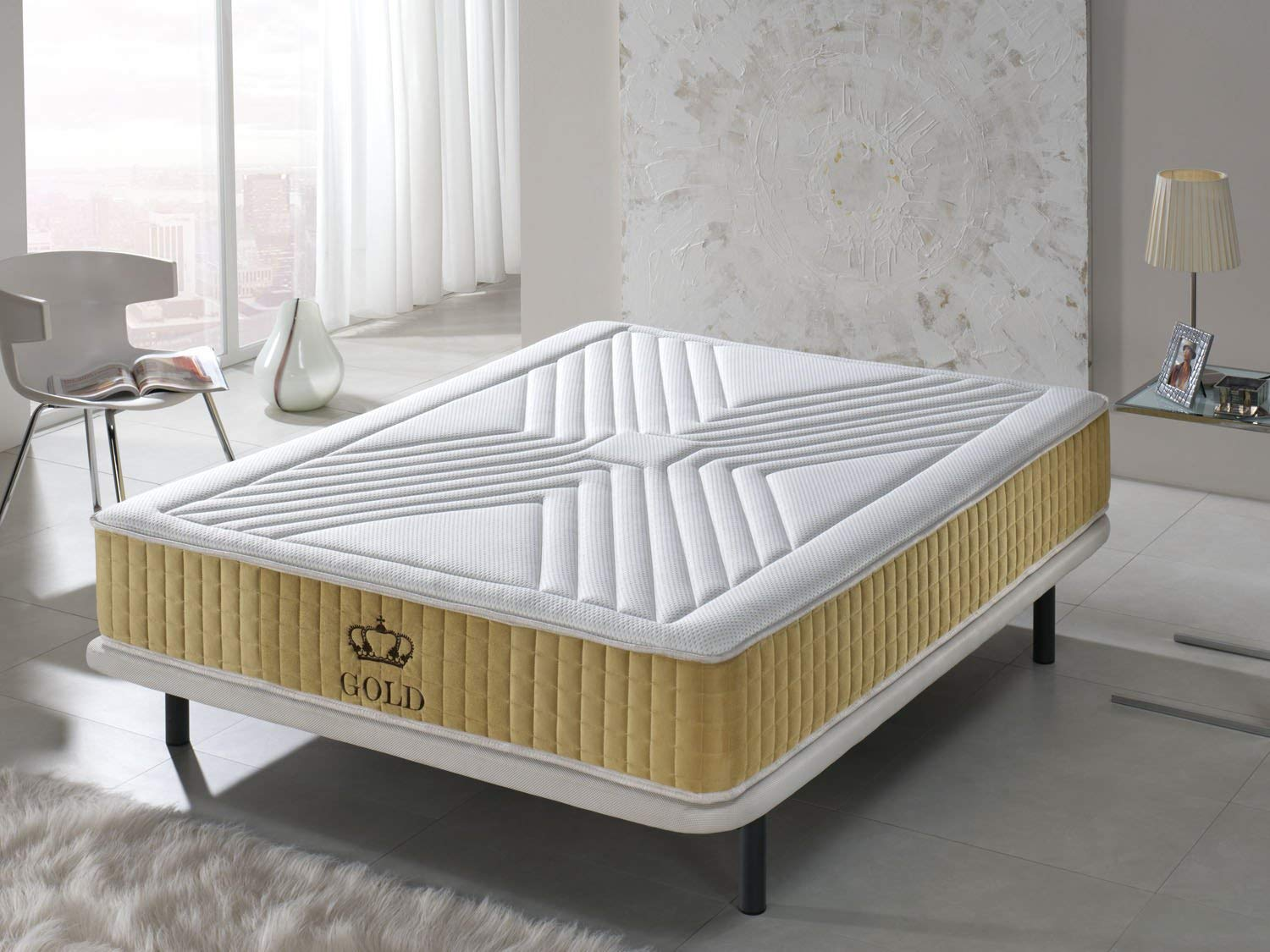 SIMPUR RELAX   Luxury Gold-threaded 11-Zone Memory Mattress Depth 25 cm   90 x 190   Soft touch sleeping surface  Orthopaedic support  High Quality Side-stitched border   Balanced Sleep Temperature  100% Quality- Satisfaction Warranty   Made 100% in EU.