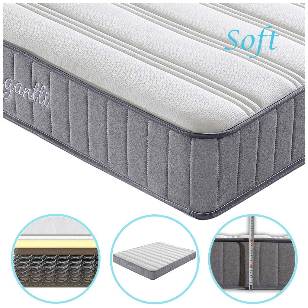 Vesgantti 8.6 Inch Economic Design 4ft Small Double Medium Soft Spring Mattress - with Breathable and Smooth Surface and High Density Comfy Foam, Multiple Max 100kg