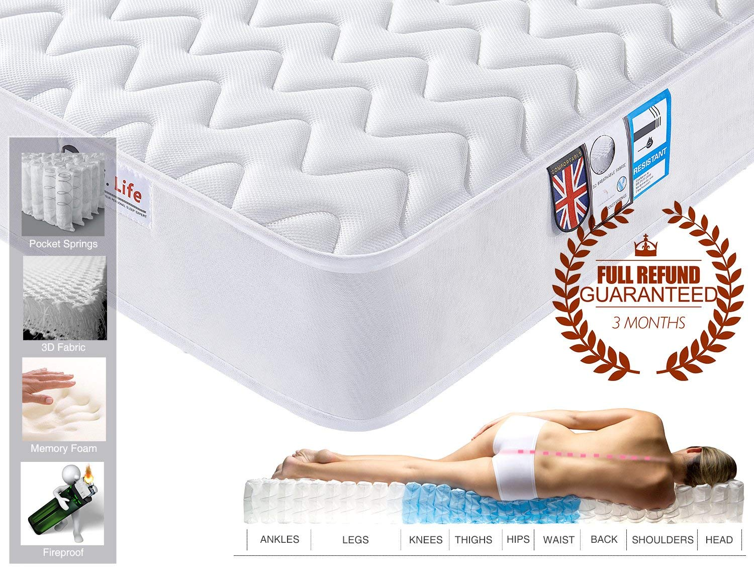 4FT Small Double 3D Breathable Fabric Mattress with Pocket Springs and Memory Foam - 9-Zone Orthopaedic Mattress - 8.7-Inch – White