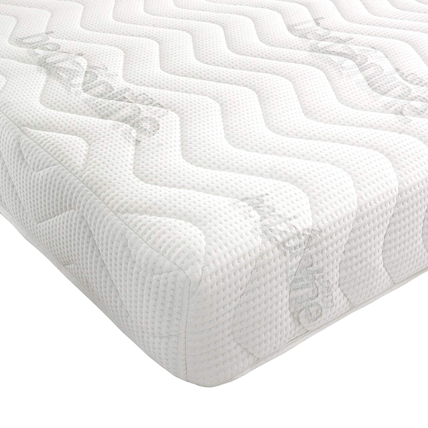 Bedzonline 7-Zone Memory Foam Rolled Mattress, Damask, White, Double [Energy Class A++]