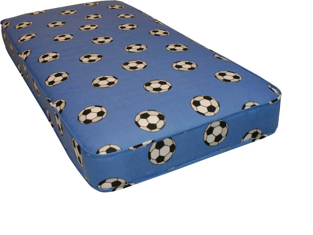 2ft6 x 5ft9 shorty budget mattress Blue football material 75cm x 175cm, 2ft6 x 5ft9 shorty single mattress, fast delivery