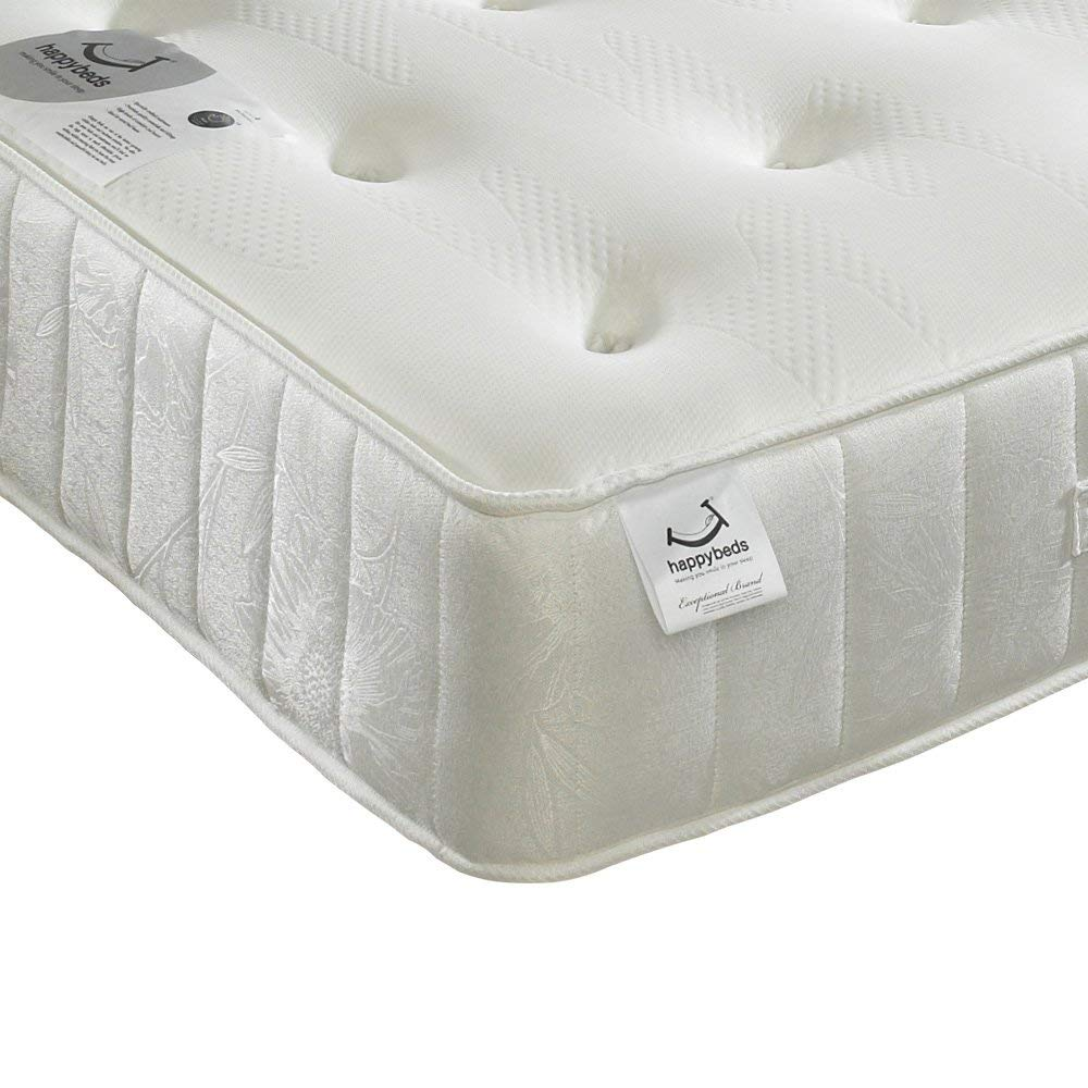 Memory Foam Open Coil Spring, Happy Beds Memory Maestro Medium Soft Tension Mattress with Reflex Foam - 4ft6 Double (135 x 190 cm)