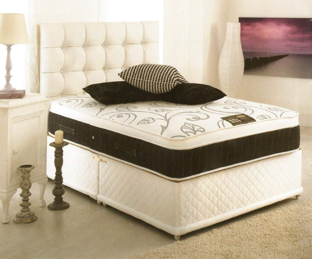 Memory foam pillow top mattress divan bed with 2 drawers and headboard available 3ft, 4ft, 4ft6, 5ft, 6ft (Super King 180x200cm)